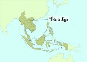 Location of Laos in Southeast Asia